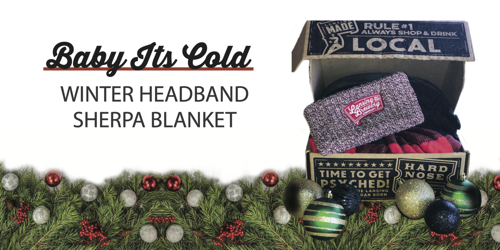 Holiday Gift Boxes at LBC. Winter headband and sherpa blanket